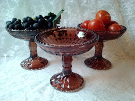Vintage Jeannette Glass Footed Antique Compote Pedestal Fruit Bowl Brown... - $27.00
