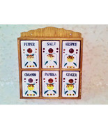 Vintage Porcelain Spice Set of 6 Large White Containers in Wood Cabinet ... - €27,00 EUR