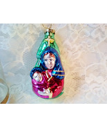 Vintage Blown Glass Mother Mary Jesus Madonna and Child Christmas Ornament - $29.00