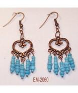 Copper Heart Charm Earrings W/Turquoise Bead Da... - $10.00