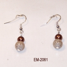 Imitation Agate Glass Bead Dangle Earrings On S... - $6.00