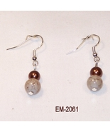 Imitation Agate Glass Bead Dangle Earrings On S... - $6.00