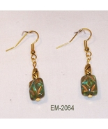 Molded Green Glass Accented W/Gold Dangle Earri... - $8.00