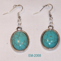 Shaped Turquoise in Silver Plated Cabochon Dang... - $10.00