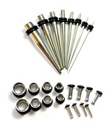 24pc STEEL EAR STRETCH KIT Tapers  PLUGS 0g 2g 4g 8g 10g 12g 14g tunnels... - $22.31