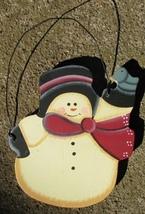 56 - Snowman with Bird  Wood Christmas Ornament  - $2.25