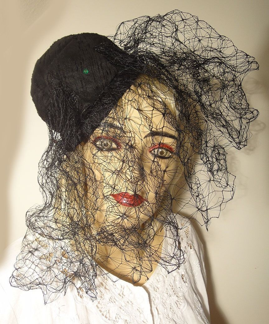 Primary image for Elegant Vintage Black Fascinator Hat by Archie Eason Heavy Veil Straw Fabulous!