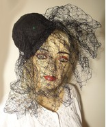 Elegant Vintage Black Fascinator Hat by Archie Eason Heavy Veil Straw Fa... - $35.00