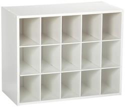 Shoe Rack Stackable 15 Unit Organizer White Wooden Storage Cabinet Shelf - £63.65 GBP