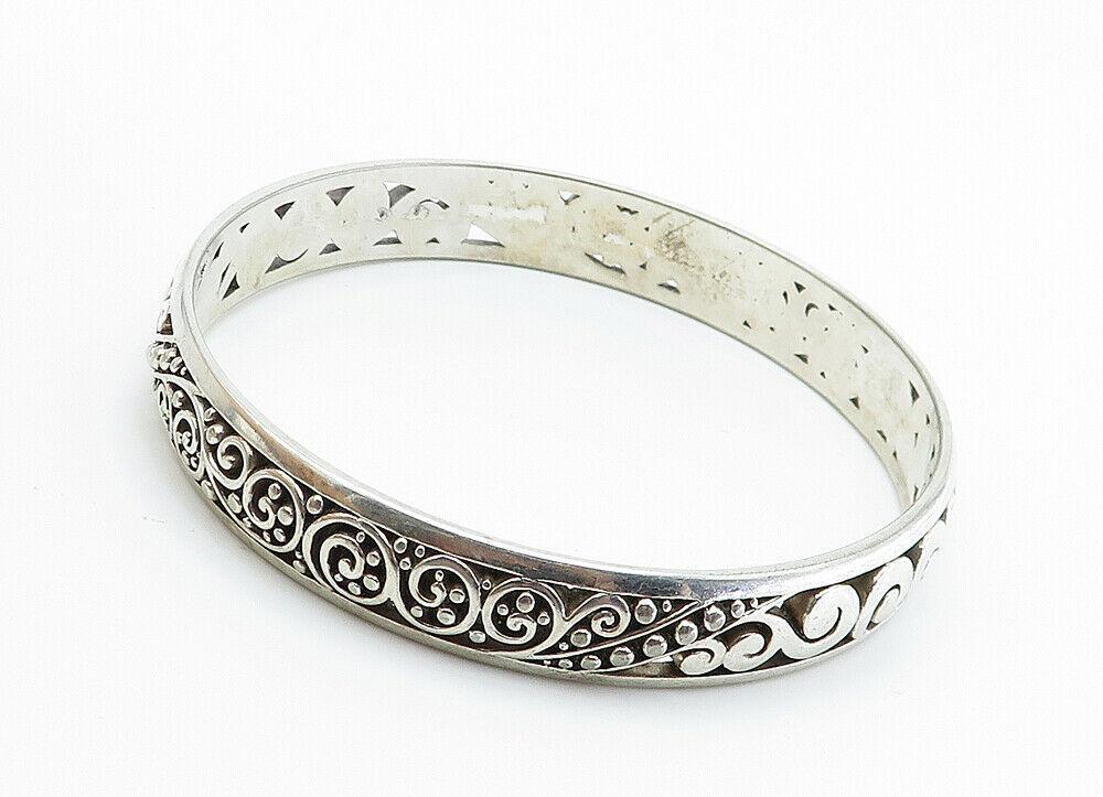 925 Sterling Silver - Vintage Baroque Swirl Detailed Bangle Bracelet - B6049 image 3