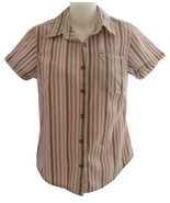 Columbia Size S Womens Pink Multi-Color Striped Button Front Blouse - $10.99