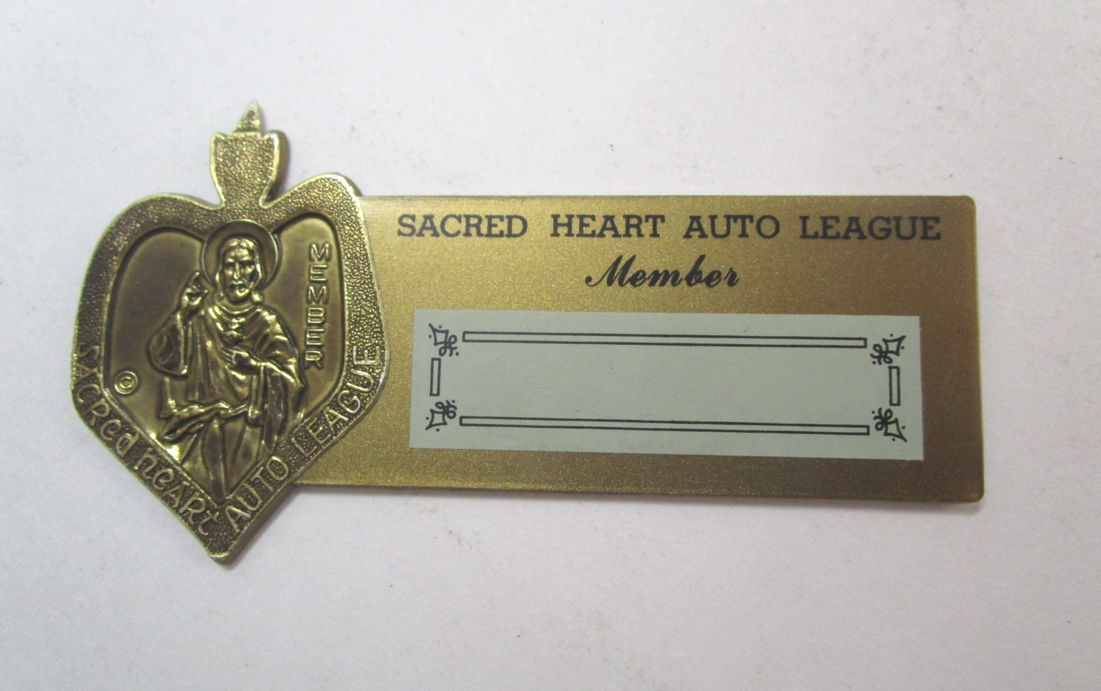 vintage sacred heart auto league member plastic dashboard. Black Bedroom Furniture Sets. Home Design Ideas