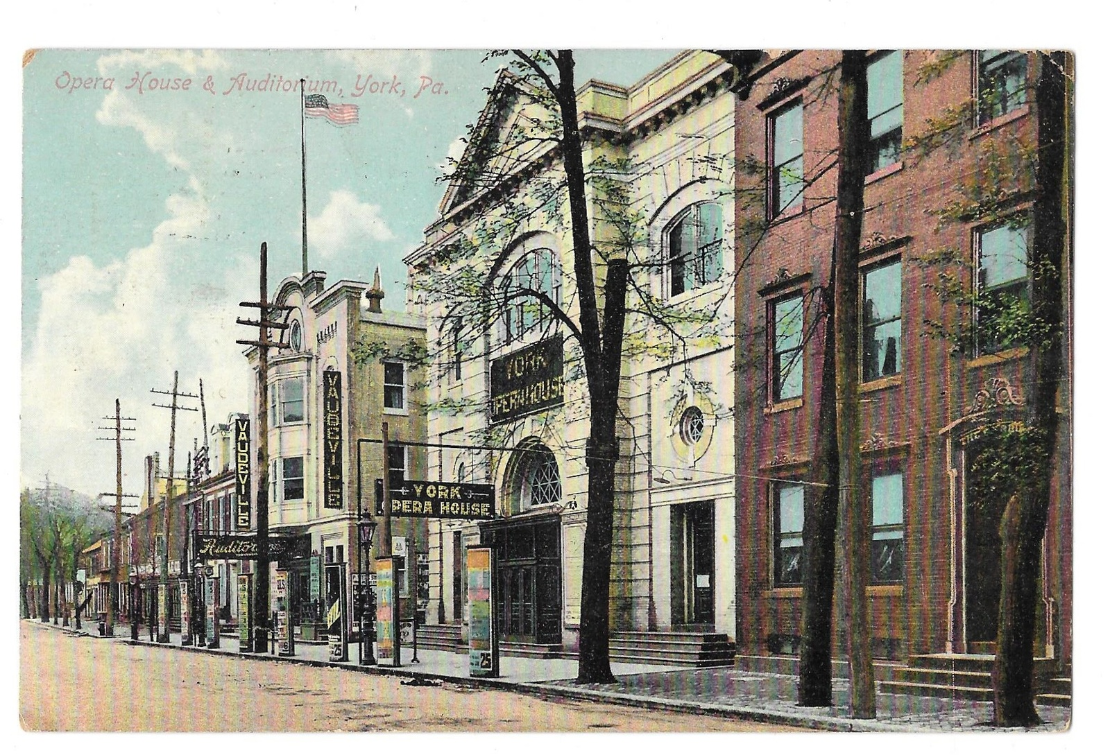 York PA Opera House and Vaudeville Auditorium 1909 Vtg Postcard Made in Germany