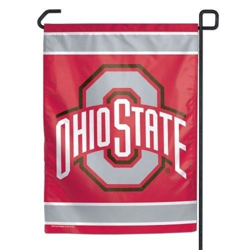 "OHIO STATE BUCKEYES TEAM SCHOOL LOGO GARDEN YARD WALL FLAG BANNER 11"" X 15"" NCAA"