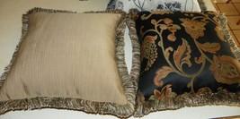 Pair of Black Gold Jaccard Print Throw Pillows - $59.95