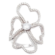 14K WHITE GOLD VERMEIL Pave Open Clear CZ Fancy Clover Knuckle Band Ring... - $49.99