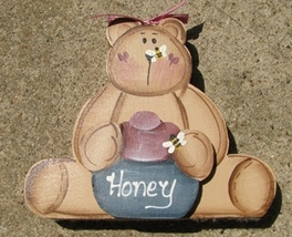Country Crafts 103B Honey Bear with Bee on nose Green Wood Hand Painted - $3.95