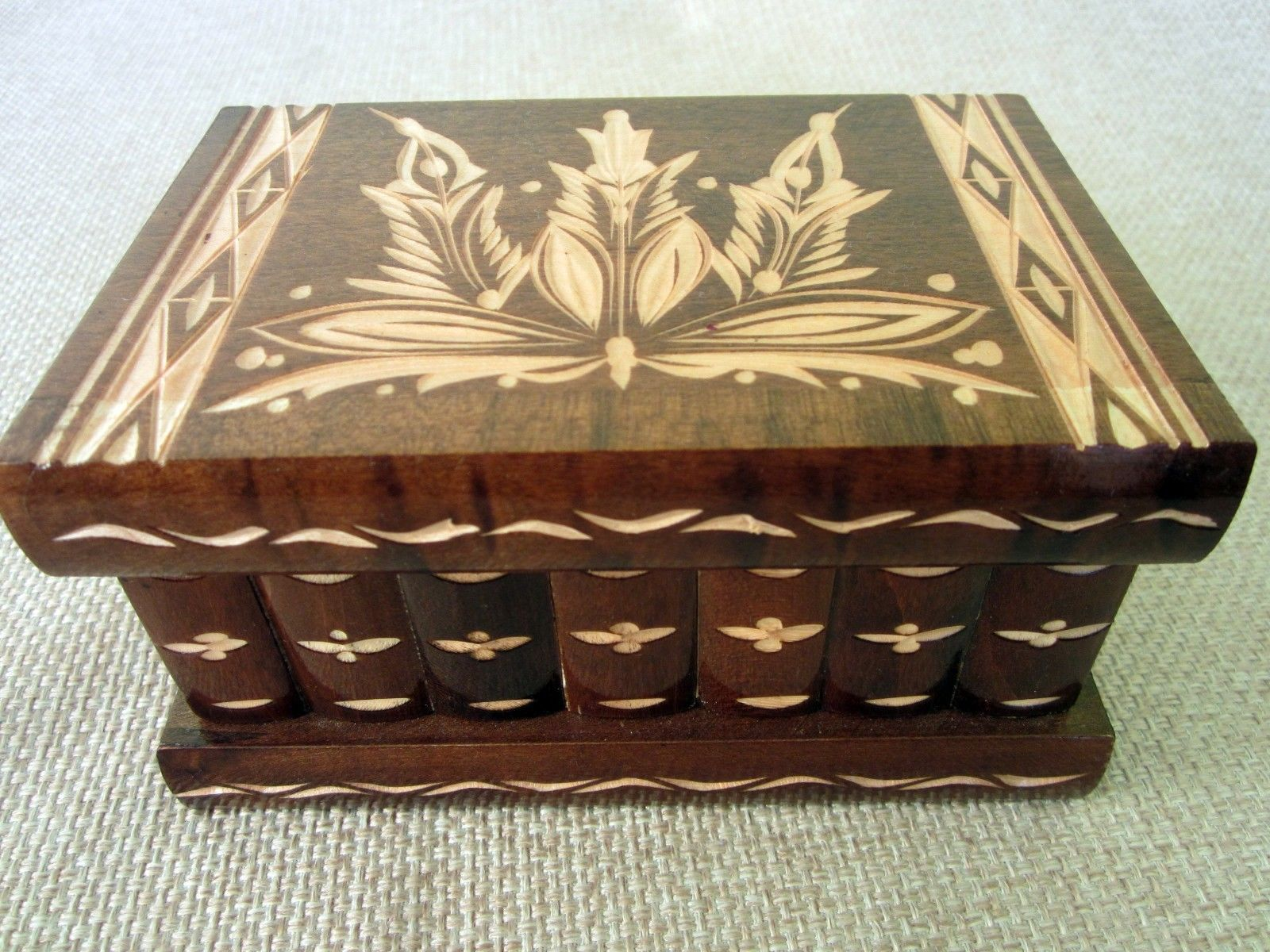 57. 57. Previous. Secret Puzzle Brown Compartment Wooden Magic Puzzle Box Hungarian Jewelry Lock