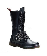 Demonia Disorder 301 Mid Calf Goth Biker Boot With Brass Knuckle Chain Detail - $89.95