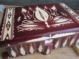 Extra Large Romania Compartment Wooden Secret MAGIC Puzzle Box Red Gift Idea - $99.11