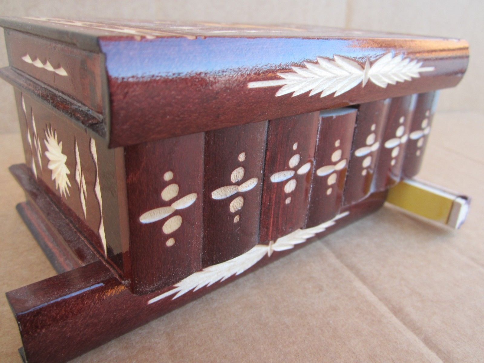 Hungarian Chestnut Vintage Puzzle SECRET Red Jewelry Box Wood NR by Kalotart