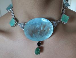 Gigantic Huge 354 ct aquamarine 2.2 ct diamond 22.5 ct emerald 14k gold ... - $199,999.99