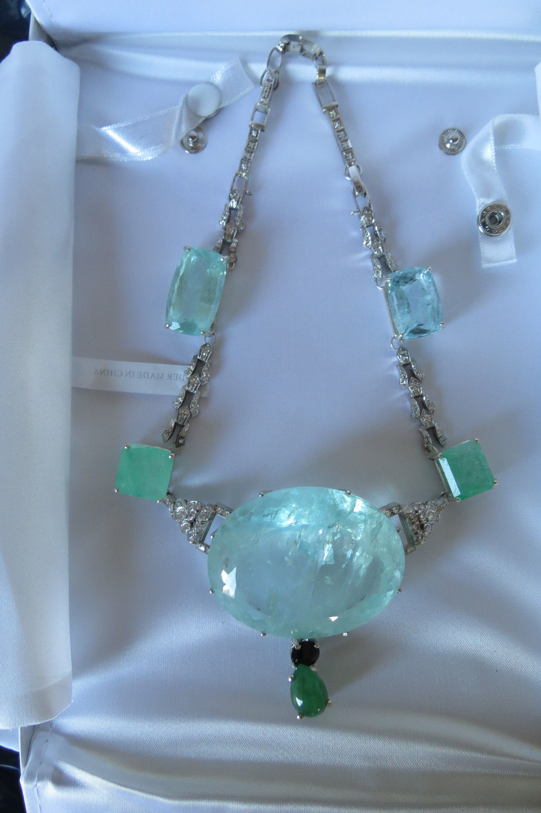 Gigantic Huge 354 ct aquamarine 2.2 ct diamond 22.5 ct emerald 14k gold necklace