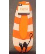 Halloween Orange and White Striped Black Cat Women's Slipper 1 size - $4.99