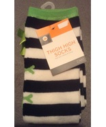 One Pair Black and White with Neon Green Bows Striped thigh high ladies ... - $4.99