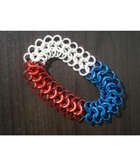 Red White and Blue Euro 4 in 1 toggle-less maille bracelet - $14.00