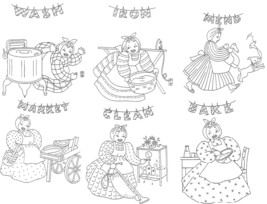 Black Americana Mammy Kitchen towels embroidery pattern LW228  - $5.00