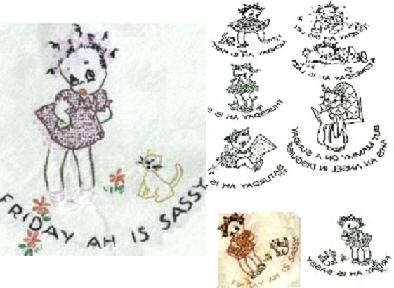 Primary image for Pickaninny Girl DOW  days of week TOWELS embroidery pattern AM3341