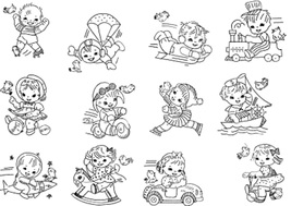Vintage Children at Play Quilt embroidery Pattern  mo7319 - $6.00