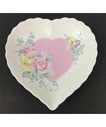 Mikasa Japan Heart Shaped Raised Pink Roses Fine Bone China  Plate Dish - $16.52