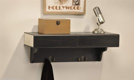 "23"" Weathered Black Wall Shelf w 2 Drawers and 2 Metal Hooks NEW"