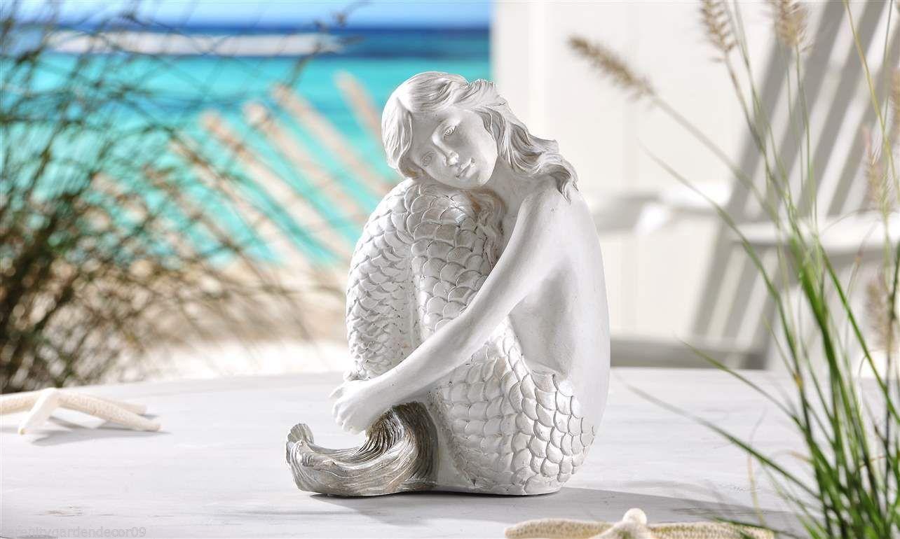 "9"" White Mermaid Sitting Figurine Polystone NEW"