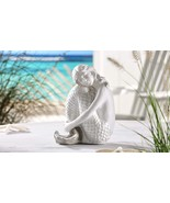 "9"" White Mermaid Sitting Figurine Polystone - $37.61"
