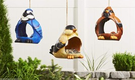 Set of 3- Cardinal, Blue Jay, Yellow Bird, Fly Through Bird Feeder Polystone NEW