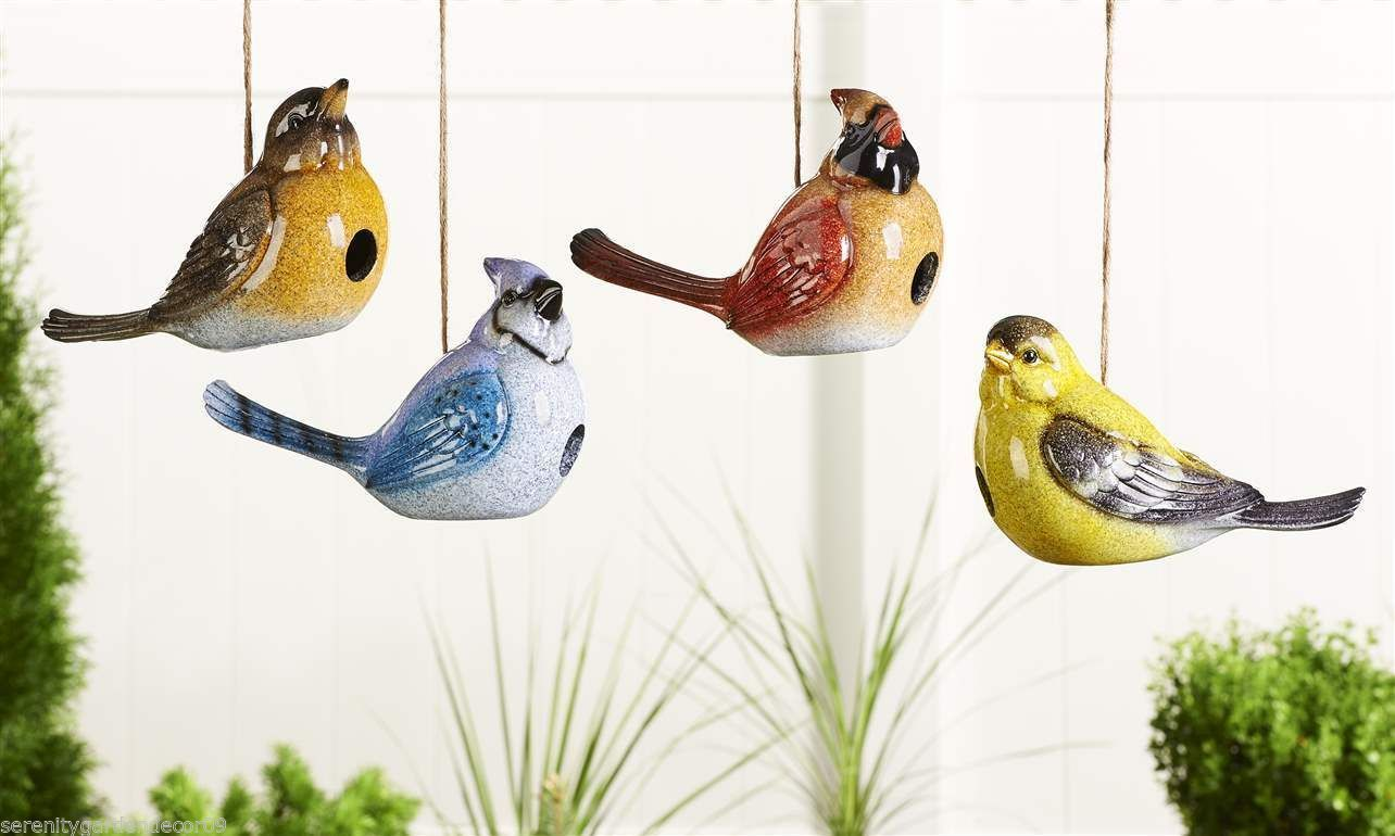 Set of 4 - Cardinal, Blue Jay, Yellow Bird, Hanging Birdhouses Polystone NEW