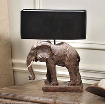 "17"" Brown Elephant Base Safari Design Table Lamp w Black Polyester Shade  NEW"