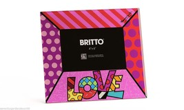 """Romero Britto Glass 4"""" x 6"""" Photo Frame with LOVE Sentiment Pink NEW"""