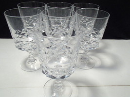 7  Cristal D' Arques Diamond Pattern Crystal Wine Glasses France Goblets - $29.99
