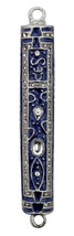 Blue Enamel Judaica Mezuzah Case Stone Inlaid Decorated Jeweled 7 cm New