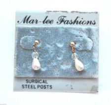New vintage drop dangle pierced earrings gold metal clear bead faux pearl - $3.46