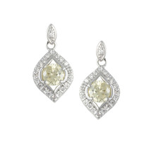 Pave Clear And Yellow Canary CZ Fancy Halo Dangle Rhodium Earrings - $29.99
