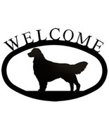 Wrought Iron Welcome Sign Retriever Silhouette Dog Plaque Outdoor Golden... - $36.99