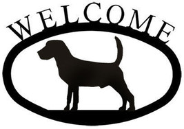 Wrought Iron Welcome Sign Beagle Silhouette Plaque Outdoor Dog Decor Accent - $21.99