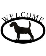 Wrought Iron Welcome Sign Beagle Silhouette Plaque Outdoor Dog Decor Accent - $36.99