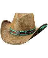 Bullhide I Trust Myself Panama Straw Cowgirl Hat Fancy Band Underbrim Na... - £70.72 GBP