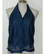 Womens Blue Jean Halter Top Size Small to Medium Embellished Flowers - $14.99